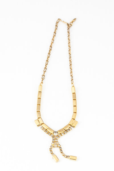 90's__Vintage__Bold Gold Rhinetsone Drop Necklace