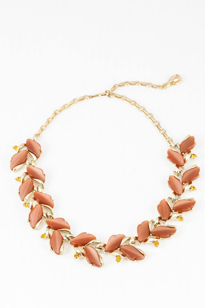50's__Coro__Muted Pink Stone Statement Necklace
