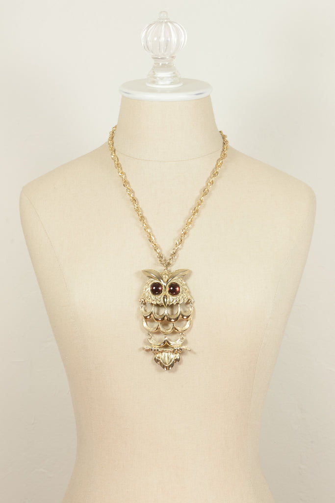 60's__Vintage__Jeweled Owl Necklace