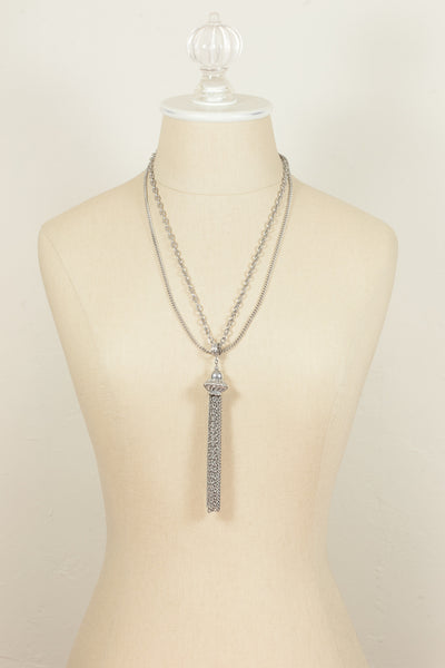 60's__Vintage__Silver Double Chain Tassel Necklace