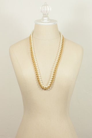 70's__Anne Klein__Pearl & Gold Chain Necklace