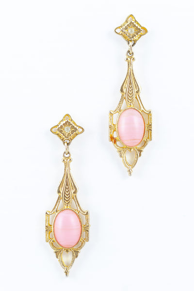 80's__Vintage__Muted Pink Stone Drop Earrings