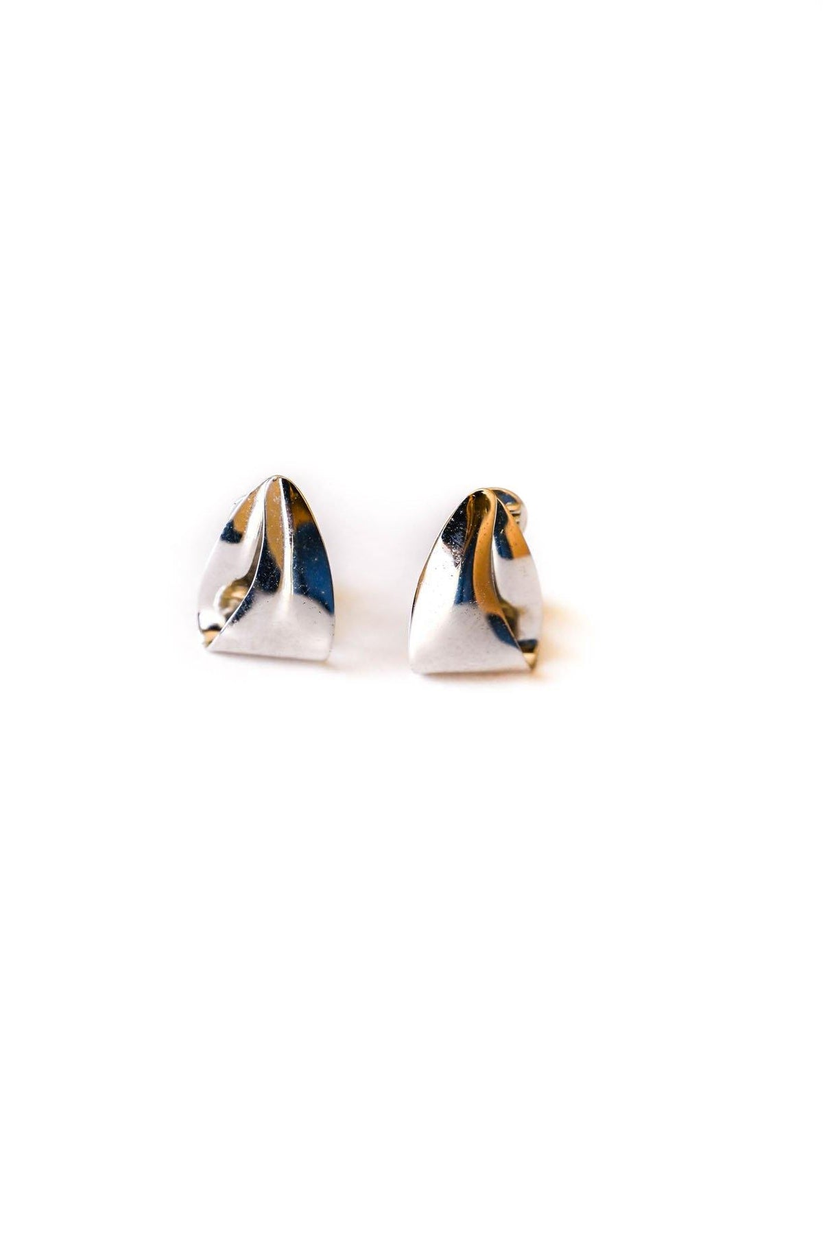 Silver Draped Triangle Clip-on Earrings - Sweet & Spark
