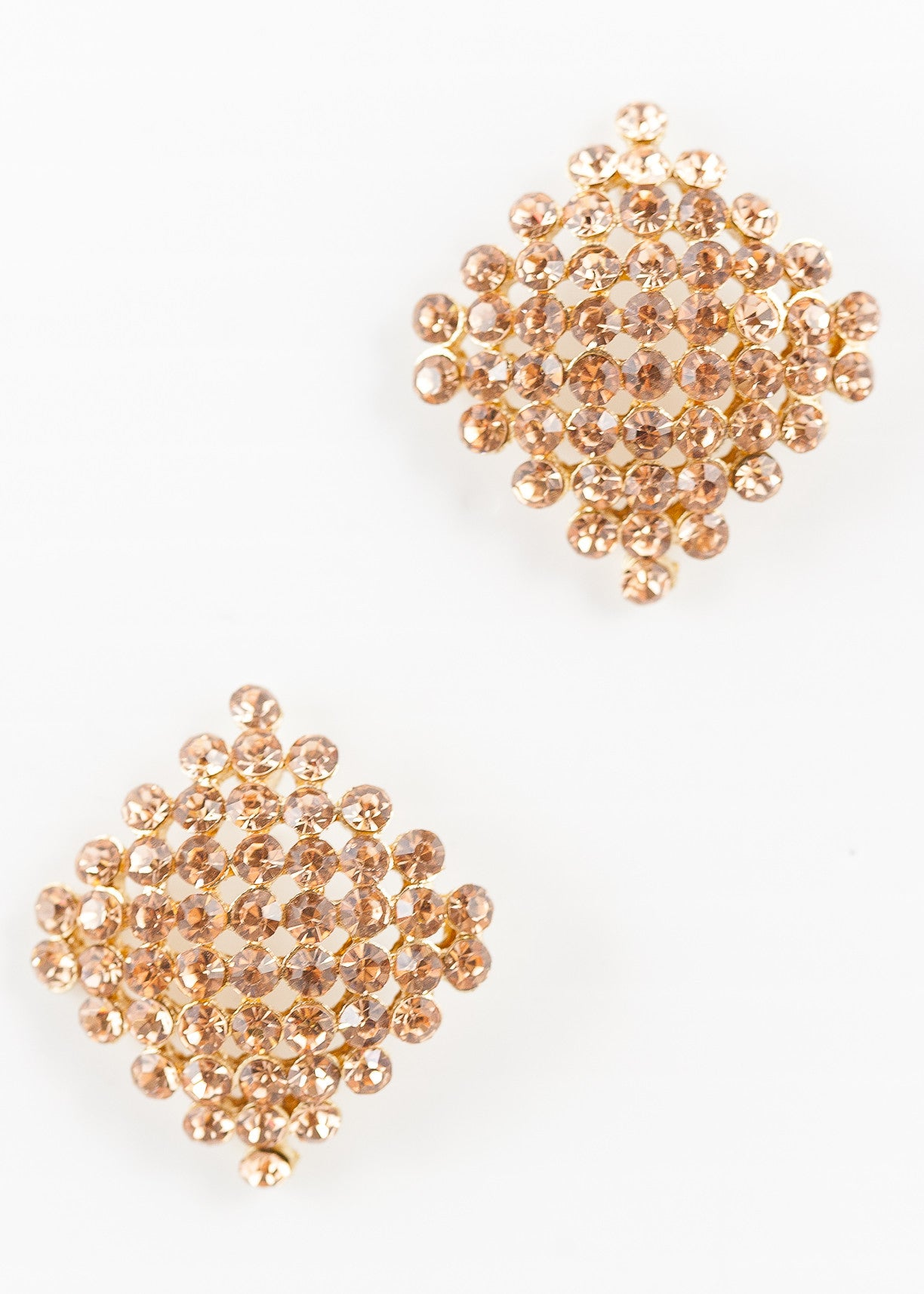 70's__Vintage__Pink Rhinestone Square Earrings