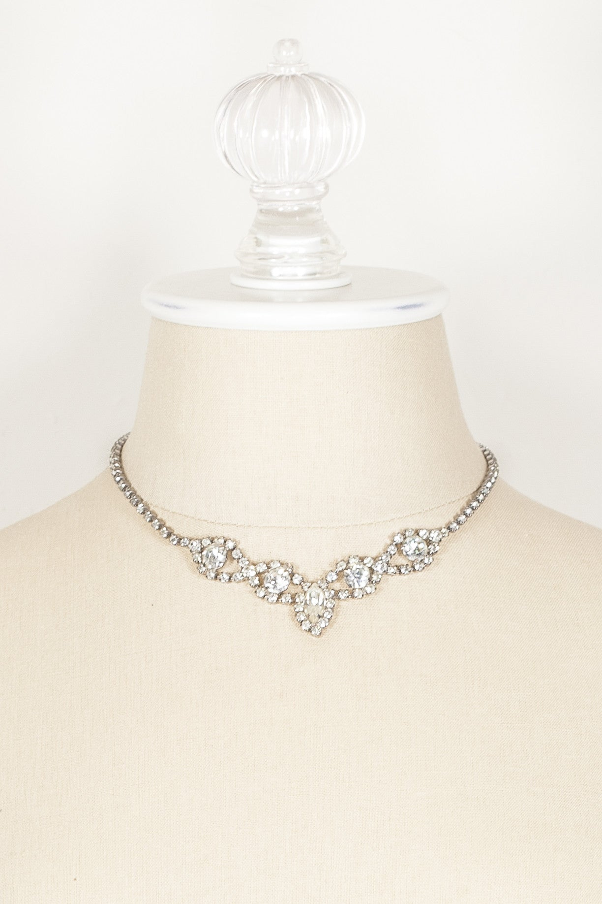 50's__Vintage__Rhinestone Cluster Wedding Necklace