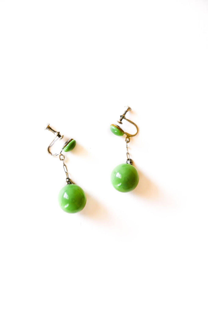 Green Drop Clip-on Earrings