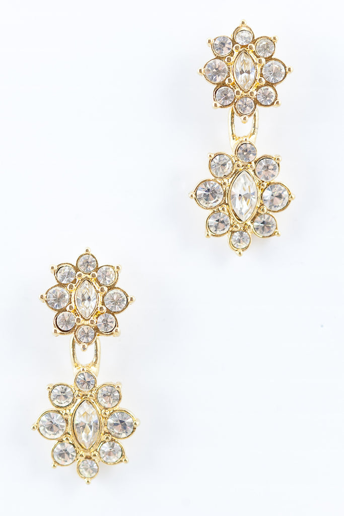 80's__Monet__Rhinestone Floral Drop Earrings