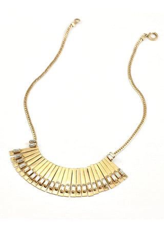 50's__Vintage__Gold-Filled Rhinestone Fringe Necklace