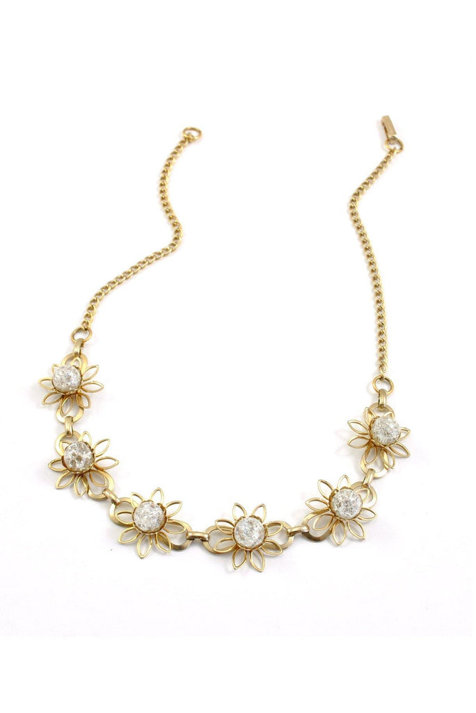50's__Vintage__Opal Dainty Floral Necklace