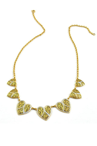50's__Vintage__Rare Damascene Heart Necklace