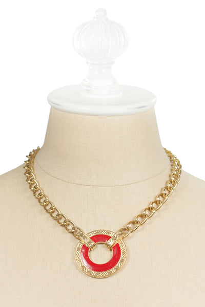 90's__Monet__Red Disc Necklace