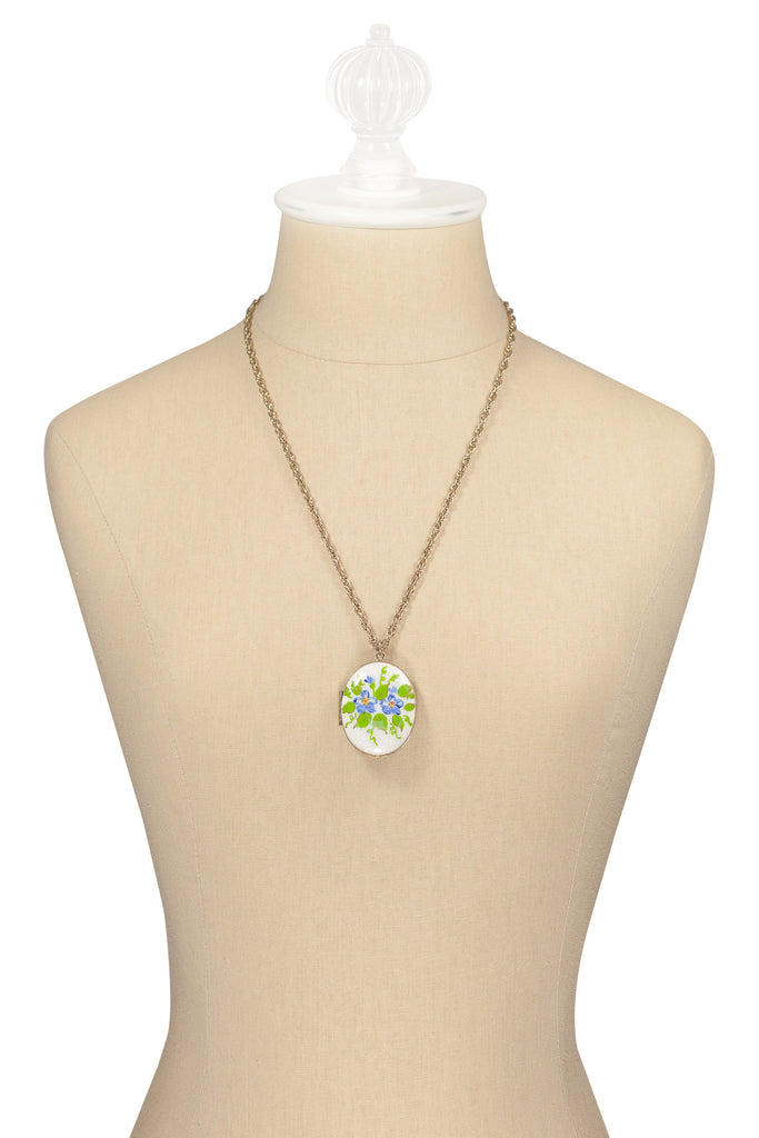 60's__Vintage__Forget Me Knot Locket Necklace