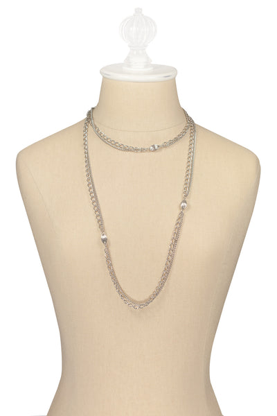 50's__Vintage__Multi Chain Silver Necklace