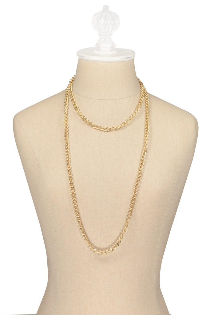 50's__Vintage__Long Curb Chain Necklace