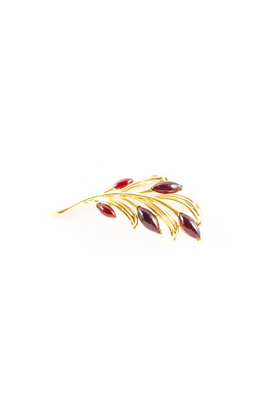 80's__Tirfari__Red Jeweled Fern Brooch