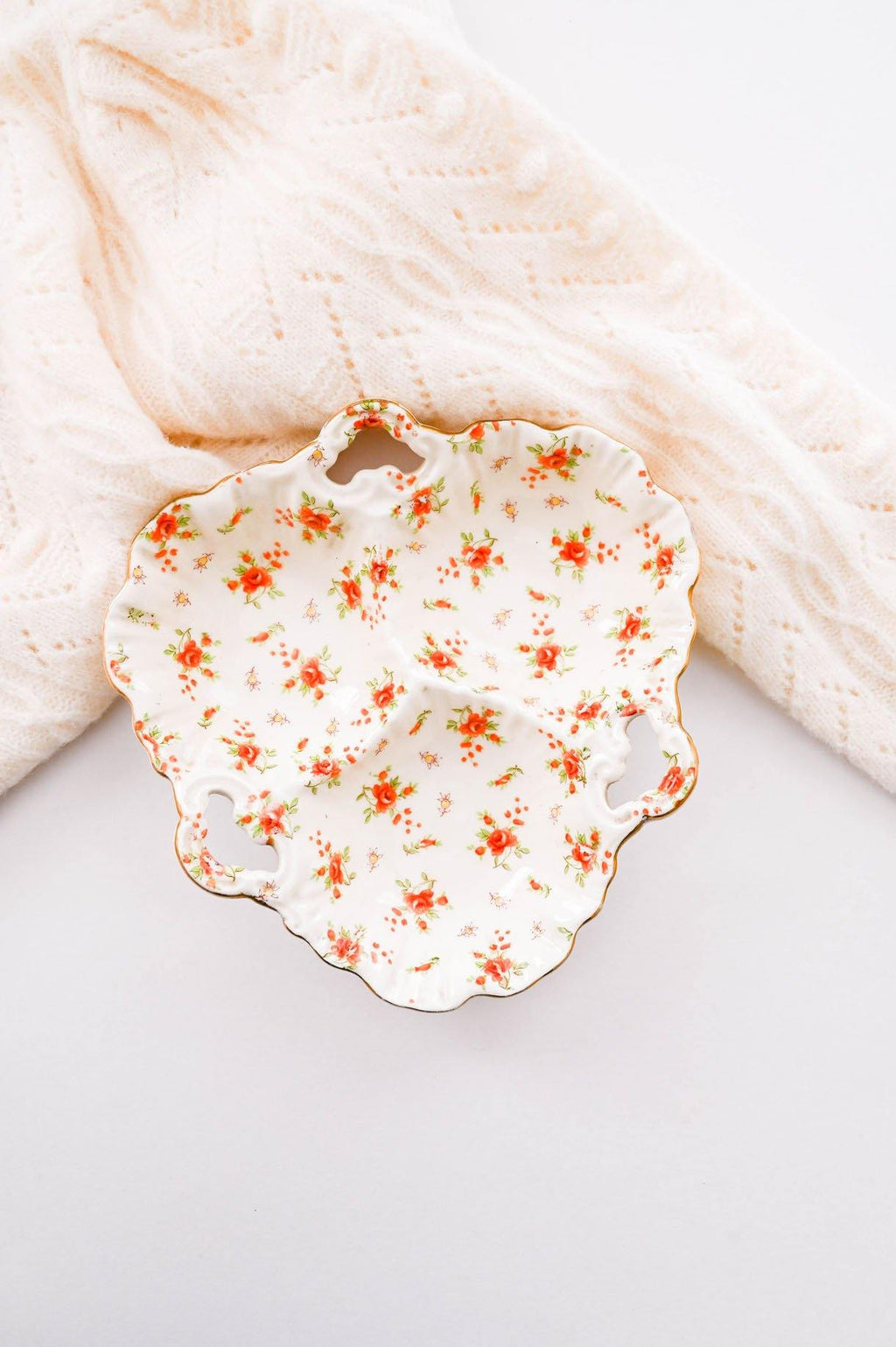 Orange Florals Triple Serving Tray