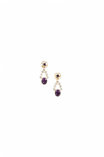 60's__Vintage__Amethyst Rhinestone Drop Earrings
