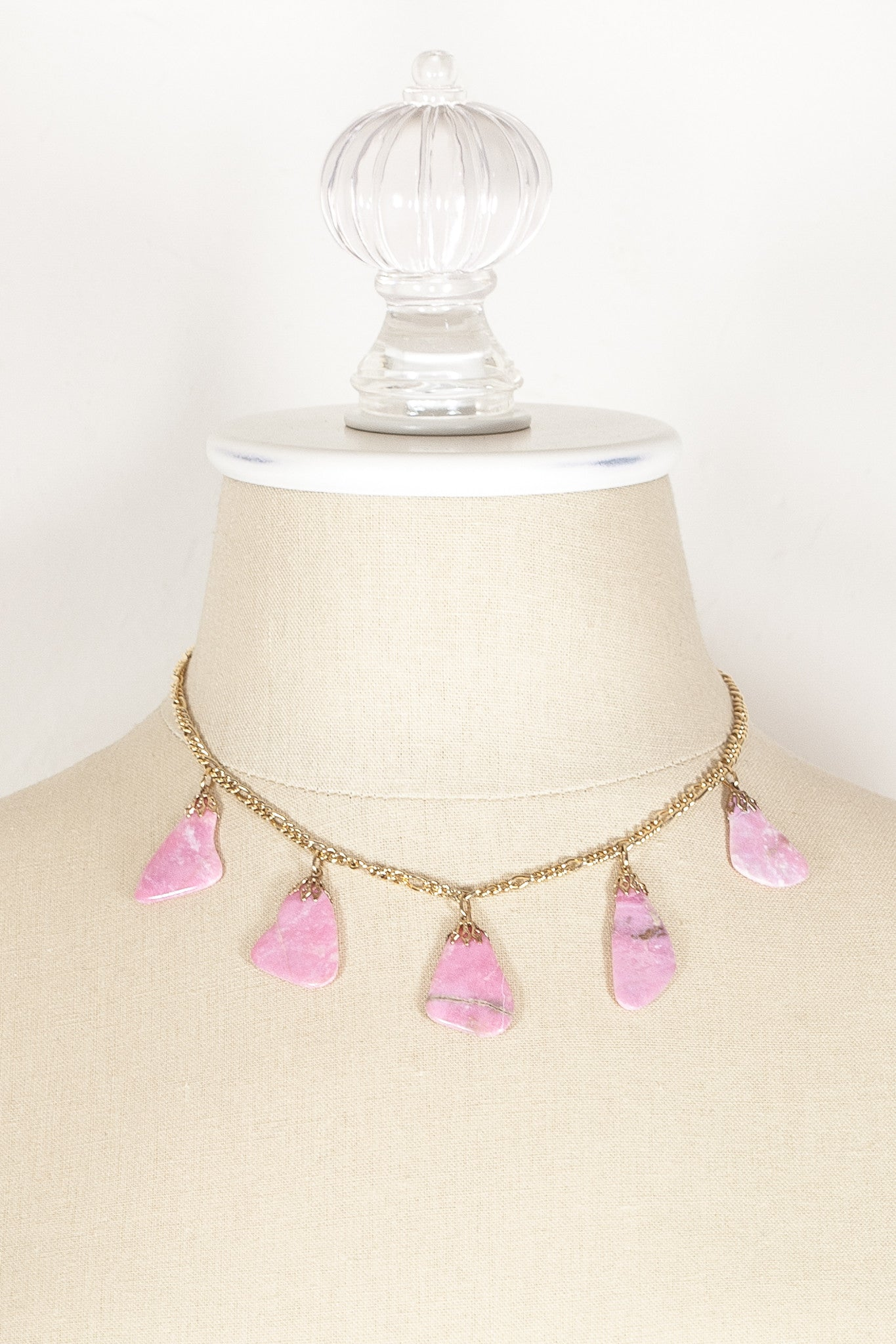 70's__Vintage__Rose Stone Charm Necklace