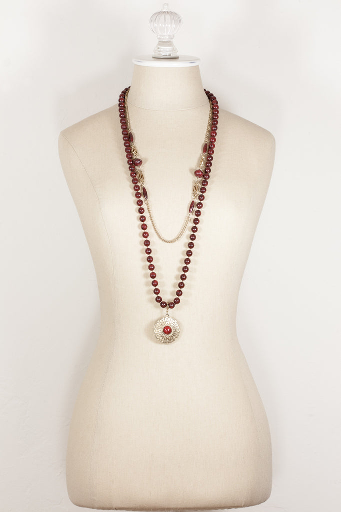 70's__Sarah Coventry__Beaded Pendant Necklace
