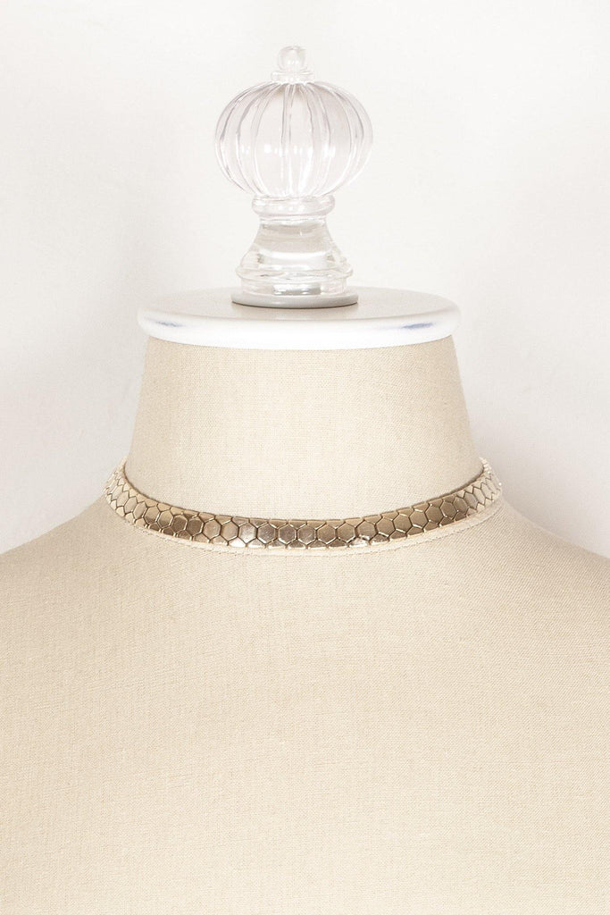 40's__Trifari__Honeycomb Chain Necklace