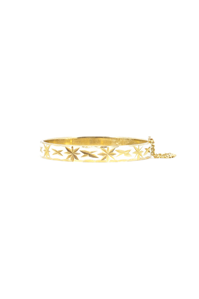 70's__Vintage__White & Gold Etched Star Bangle
