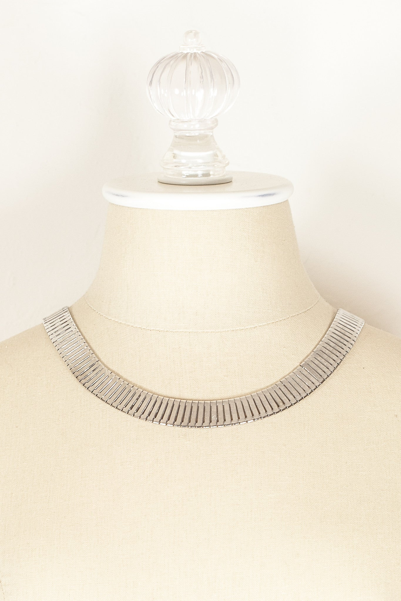 60's__Park Lane__Flat Link Silver Necklace
