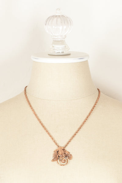 80's__Copper Bell__Leaf Necklace
