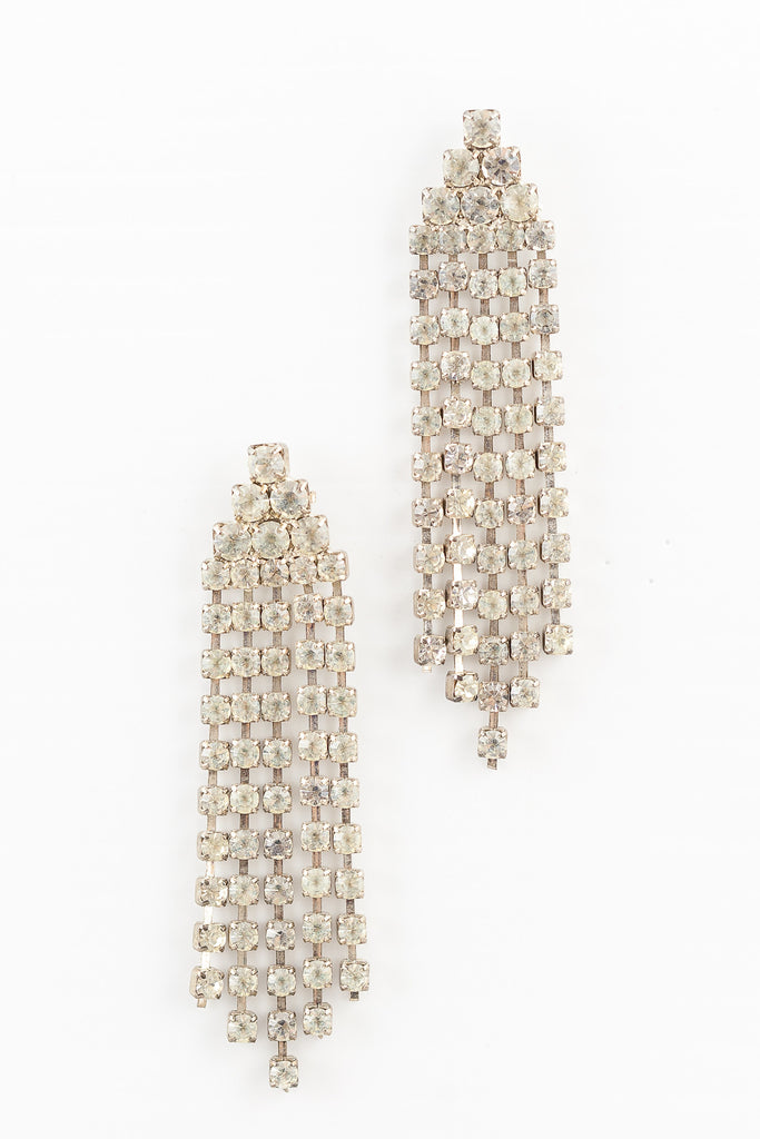 60's__Vintage__Rhinestone Fringe Earrings