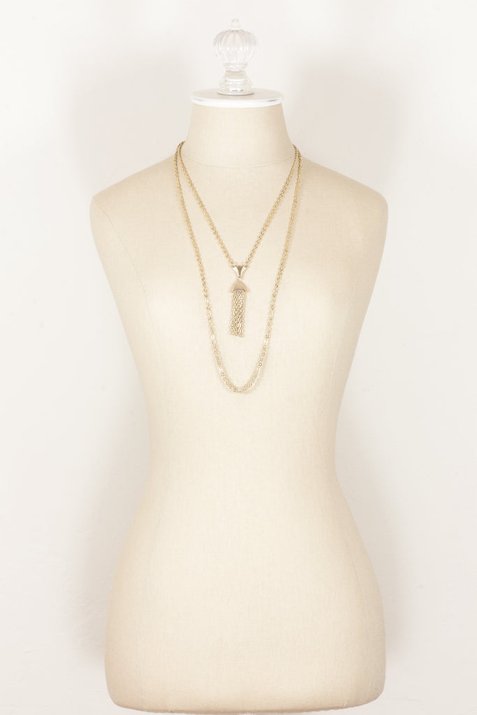 70's__Vintage__Classic Double Chain Tassel Necklace