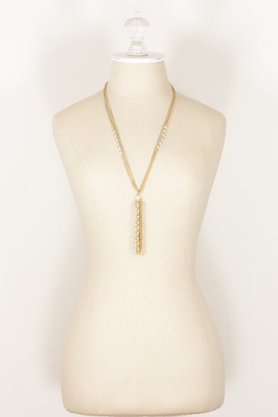 70's__Vintage__Classic Pearl Tassel Necklace