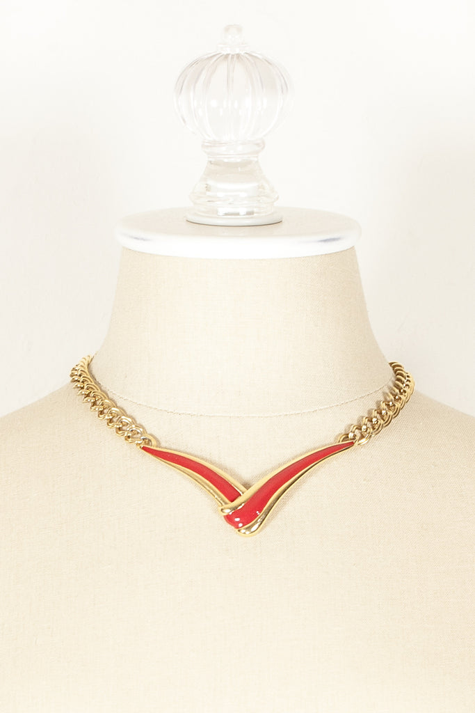 70's__Monet__Red V Bar Necklace