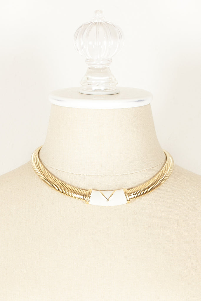 70's__Monet__Cream Enamel Bar Necklace