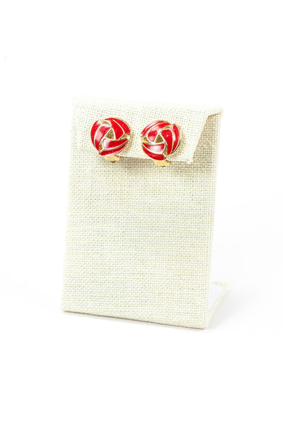 60's__Vintage__Red Swirl Earrings