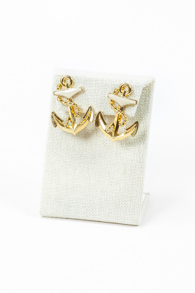 60's__Vintage__Cream Anchor Earrings
