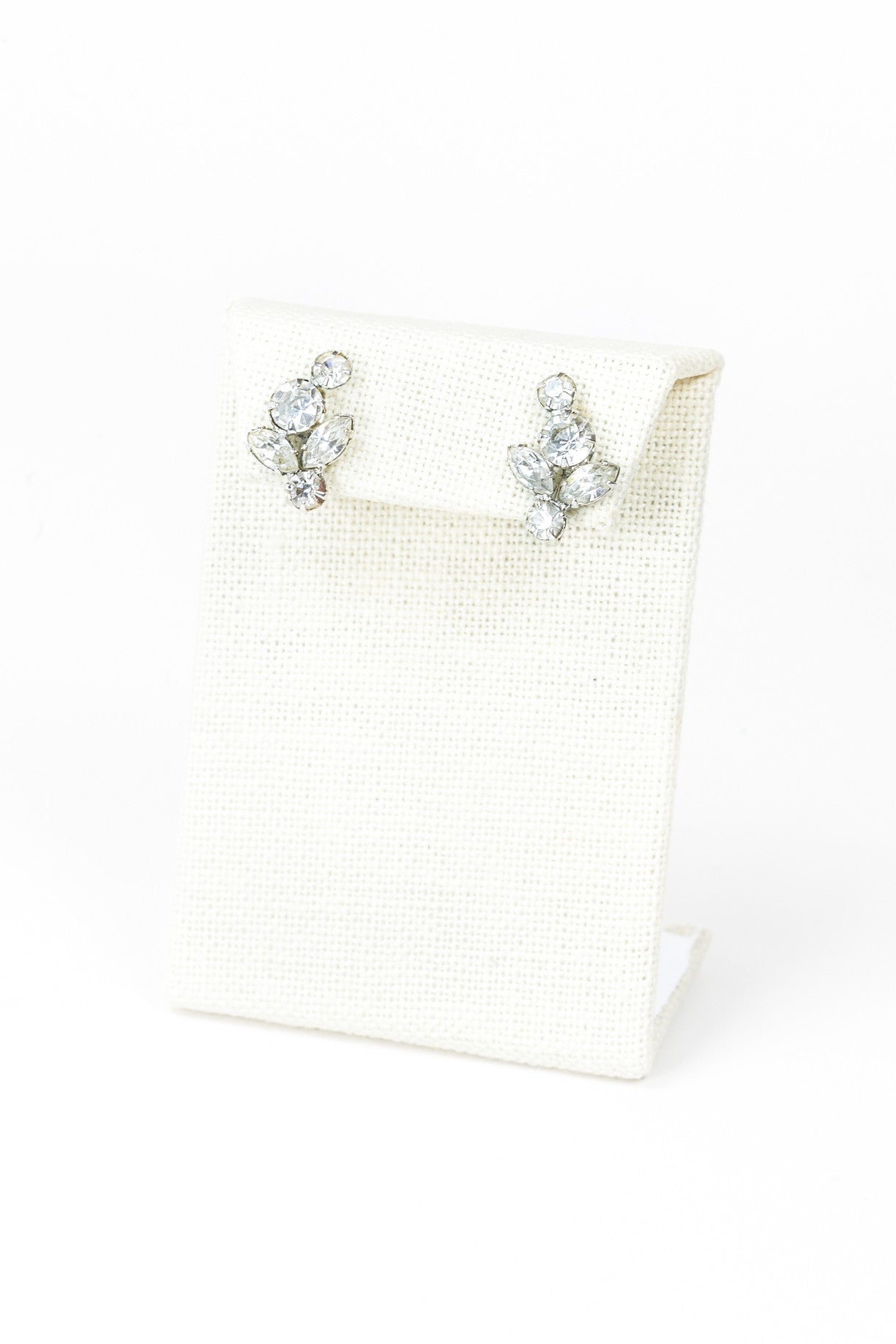 60's__Vintage__Dainty Rhinestone Leaf Earrings