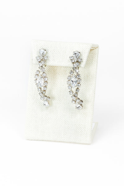 60's__Vintage__Rhinestone Swirl Drop Earrings