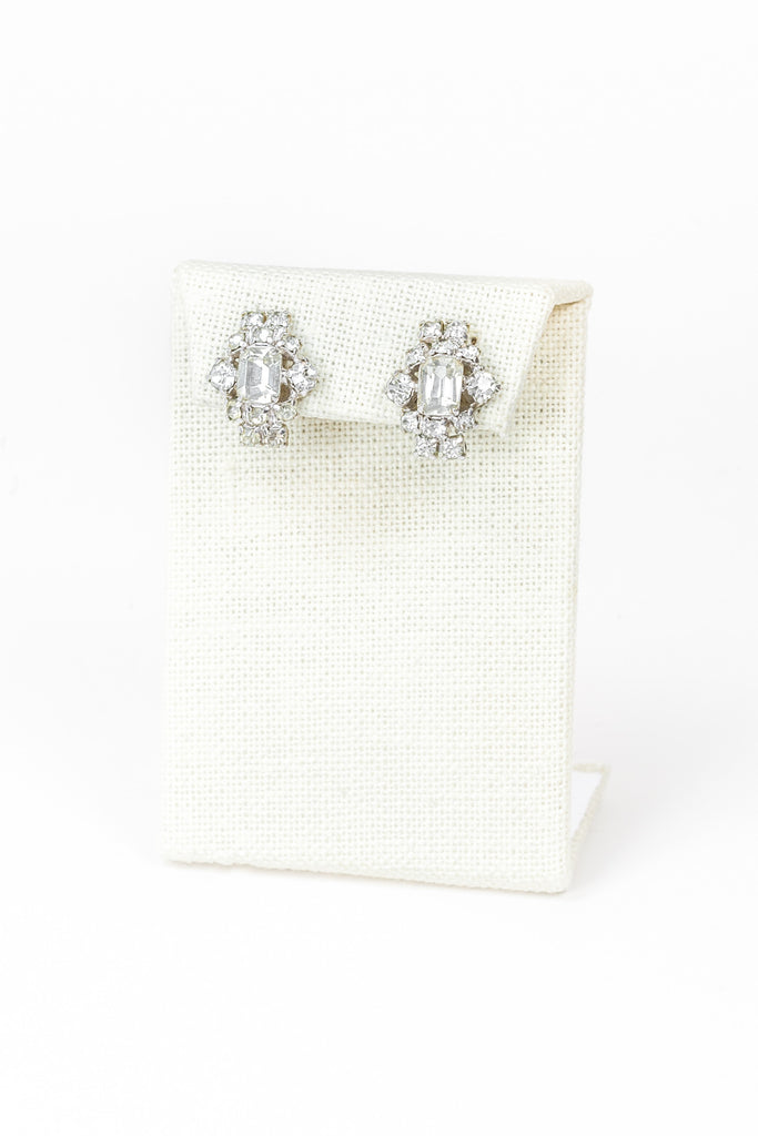 60's__Vintage__Dainty Rhinestone Cluster Earrings