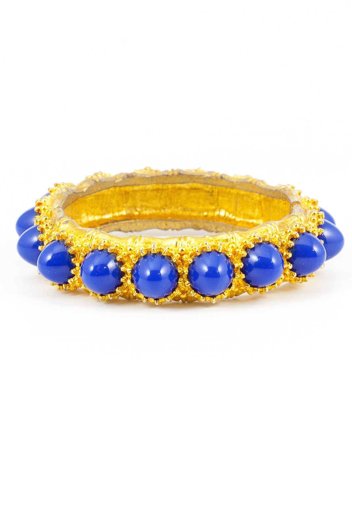 90's__Kenneth Jay Lane__Blue Spike Encrusted Statement Bangle