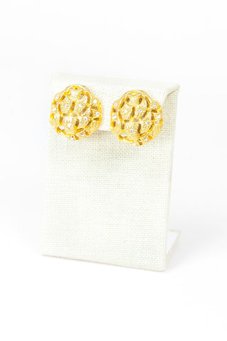 60's__Tara__Honeycomb Disc Earrings