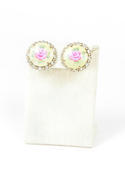 60's__Vintage__Rose Rhinestone Disc Earrings
