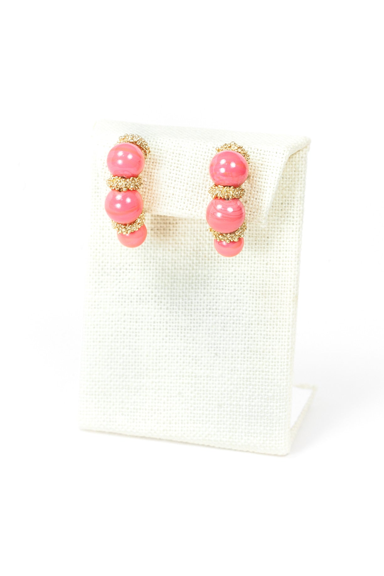 50's__Napier__Coral Bead Earrings
