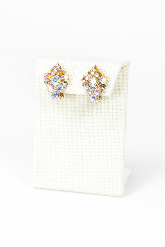 60's__Vintage__Iridescent Cluster Earrings