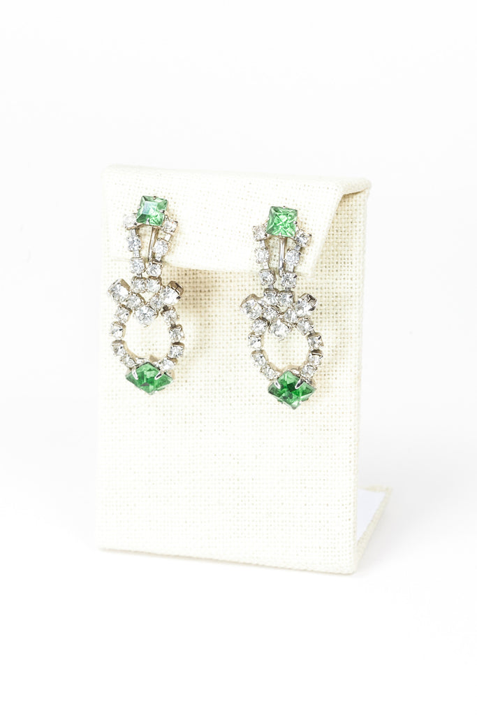 60's__Vintage__Colored Rhinestone Drop Earrings