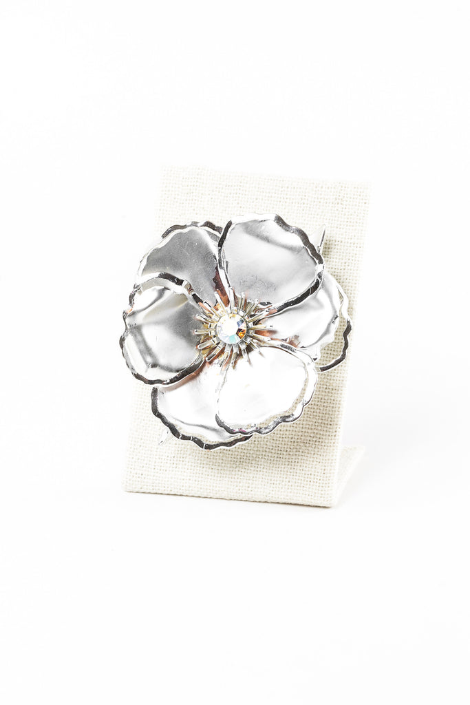 50's__Vintage__Bold Silver Pansy Brooch