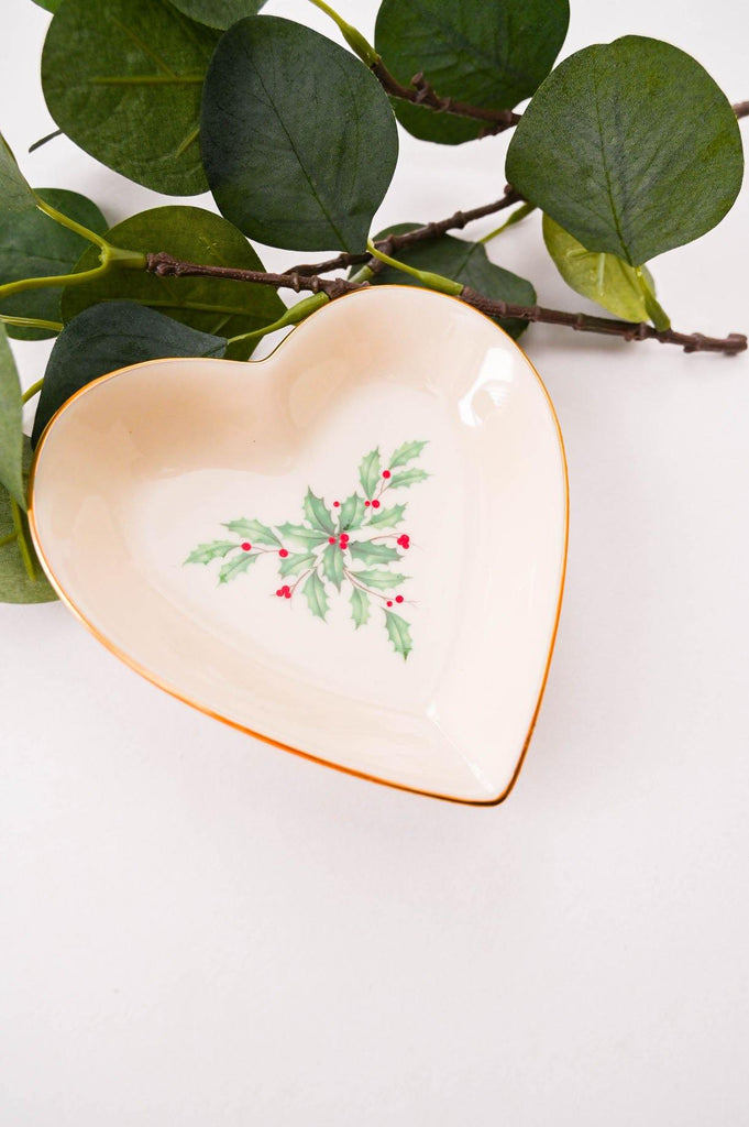 Heart Shaped Holly Trinket Dish