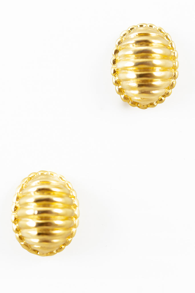 80's__Vintage__Striped Oval Shell Earrings