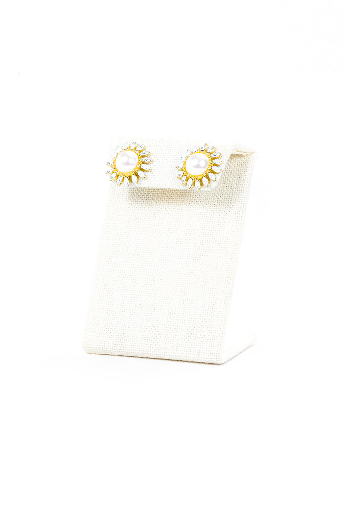 80's__Monet__Pearl & Rhinestone Sunflower Earrings