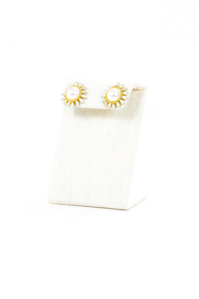 Monet Pearl & Rhinestone Sunflower Earrings