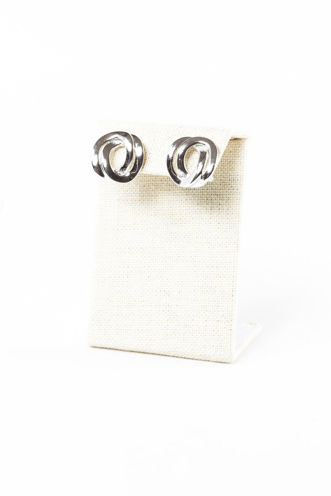 80's__Monet__Silver Double Ring Stud Earrings
