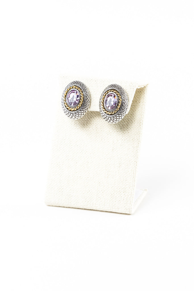 80's__Park Lane__Pink Stone Clip On Earrings